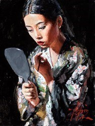 Geisha with Mirror II (Green) by Fabian Perez -  sized 9x12 inches. Available from Whitewall Galleries